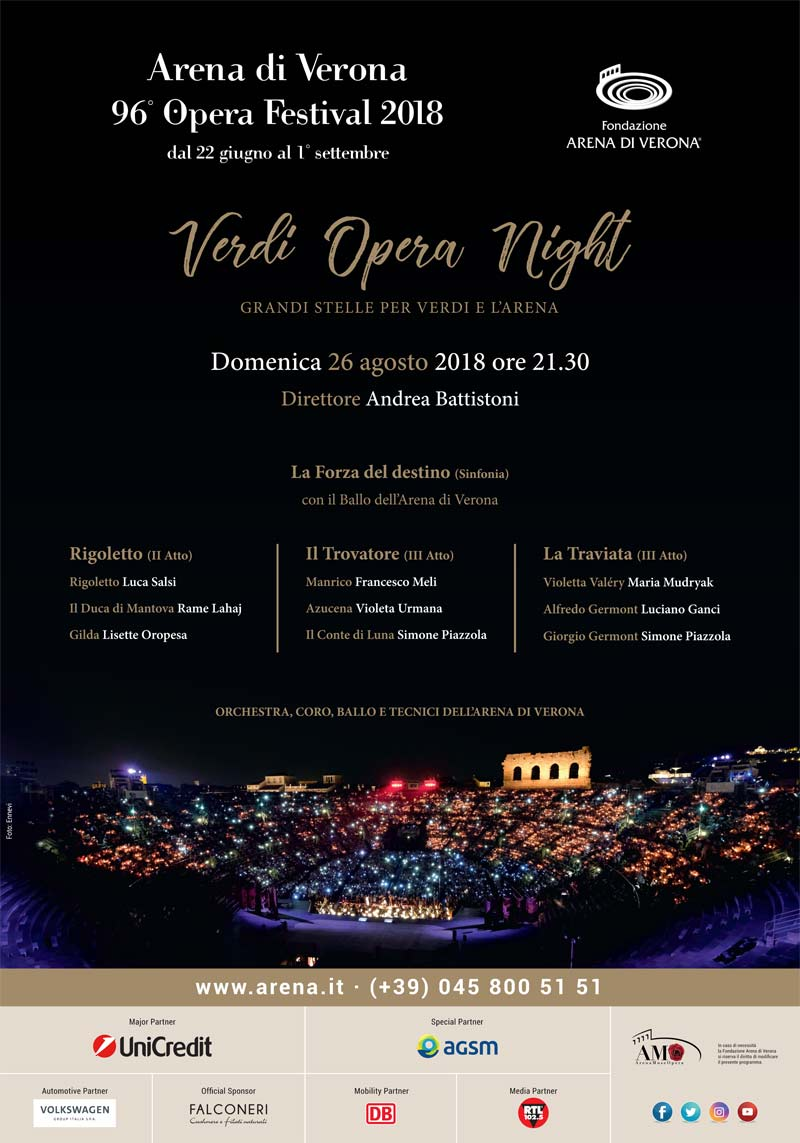 Verdi Opera Night il 26 Agosto in Arena!
