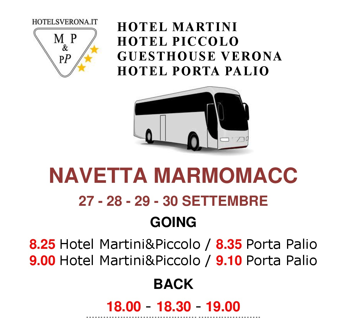 MARMOMACC: free shuttle bus for our guests!