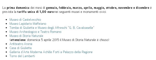 Pasqua: Musei di Verona a 1 Euro!